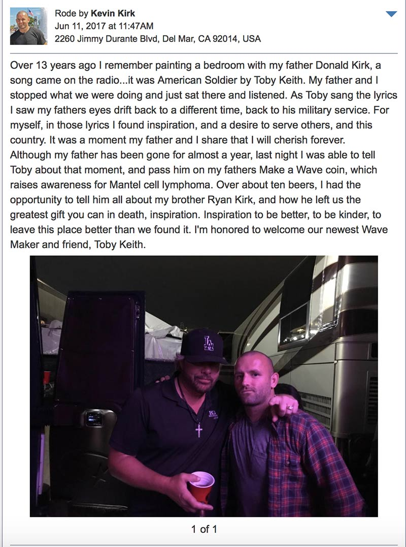 Toby Keith Receives Make a Wave Coin in San Diego California
